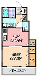 兵庫県神戸市北区鹿の子台北町5丁目の賃貸アパートの間取り