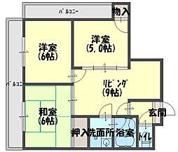 ロータリーマンション八雲西町[702号室]の間取り
