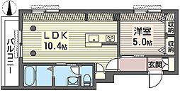 スクウエア中村橋 3階1LDKの間取り