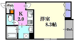 広島県広島市中区広瀬北町の賃貸マンションの間取り
