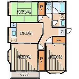 愛川パレスC[2階]の間取り