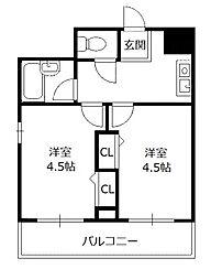木川東エクセルハイツ[2階]の間取り