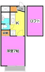 埼玉県新座市馬場1丁目の賃貸アパートの間取り