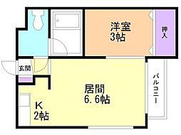 グランメール弘道館第1 2階1LDKの間取り