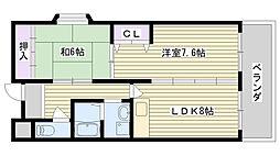 グランベル北田[402号室]の間取り