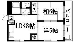 兵庫県宝塚市三笠町の賃貸マンションの間取り
