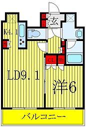 コンフォリア春日富坂 9階1LDKの間取り