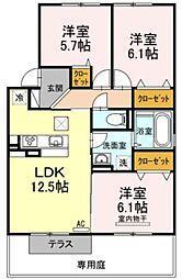 香川県高松市松島町3丁目の賃貸アパートの間取り