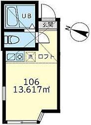 横浜市営地下鉄ブルーライン 吉野町駅 徒歩3分の賃貸アパート 1階ワンルームの間取り