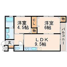 サンリベラ甲東園[2階]の間取り