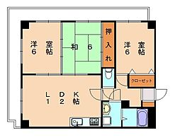 福岡県福岡市博多区那珂2丁目の賃貸マンションの間取り