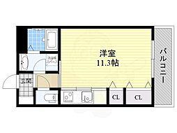 阪急千里線 千里山駅 徒歩17分の賃貸マンション 1階ワンルームの間取り
