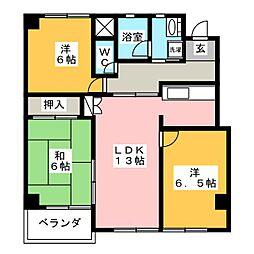 愛知県刈谷市相生町2丁目の賃貸マンションの間取り