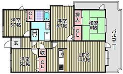 メゾンドールラーバン和泉1番館[1405号室]の間取り