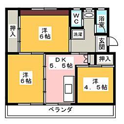 ビレッジハウス小瀬 1号棟[3階]の間取り