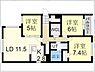 間取り,3LDK,面積73.4m2,賃料10.2万円,札幌市営東西線 琴似駅 徒歩15分,札幌市営東西線 西28丁目駅 徒歩19分,北海道札幌市西区山の手2条6丁目6-46
