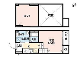 福岡県福岡市博多区千代2丁目の賃貸アパートの間取り