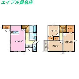 [テラスハウス] 三重県桑名市西矢田町 の賃貸【/】の間取り