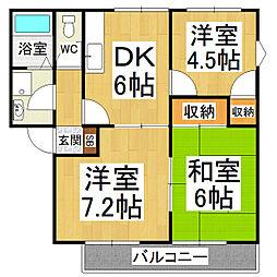 コーポKAWAKAMI[1階]の間取り
