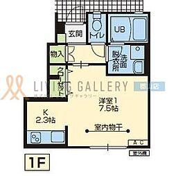 JR東北本線 郡山駅 4.6kmの賃貸アパート 1階1Kの間取り