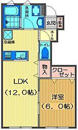 埼玉県川越市木野目の賃貸アパートの間取り