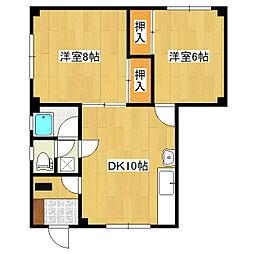 ハッピーハウス2[2B-1号室]の間取り