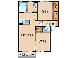 和歌山県和歌山市湊5丁目の賃貸アパートの間取り