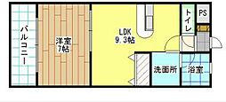 福岡県北九州市小倉北区白銀2丁目の賃貸アパートの間取り