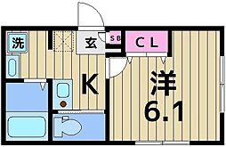 クレストール綾瀬 3階1Kの間取り