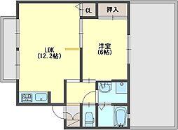 奈良県香芝市逢坂2丁目の賃貸アパートの間取り