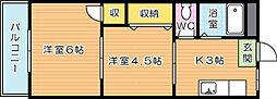 大浦コーポ[2階]の間取り