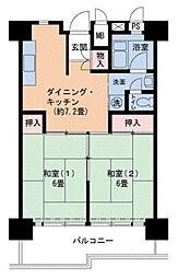 Osaka Metro南港ポートタウン線 ポートタウン西駅 徒歩9分の賃貸マンション 3階2DKの間取り