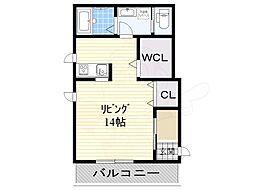 WB高見の里 3階ワンルームの間取り