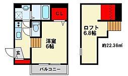 D-rise春日(ディーライズ) 2階ワンルームの間取り