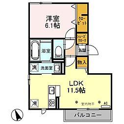 埼玉県上尾市大字大谷本郷の賃貸アパートの間取り