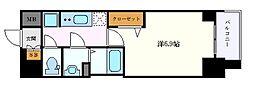 名古屋市営東山線 新栄町駅 徒歩5分の賃貸マンション 9階1Kの間取り