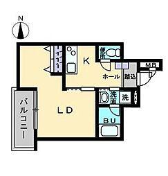 Maison de QuatreIII(メゾン ド キャトルIII) 4階1Kの間取り
