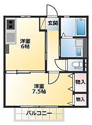 アネーロ枝吉 1階1DKの間取り