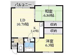 北海道札幌市東区北37条東27丁目の賃貸アパートの間取り