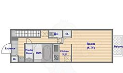 TAY Apartment 1階1Kの間取り