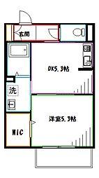 Chichiri 2階1DKの間取り