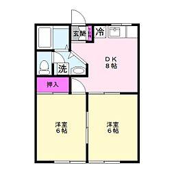 アルゴハイツB[2階]の間取り