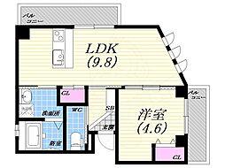 阪急神戸本線 夙川駅 徒歩3分の賃貸マンション 2階1LDKの間取り