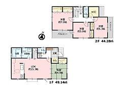 参考プラン 延床面積93.42?、建物価格1200万円