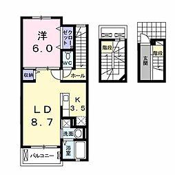 茨城県龍ケ崎市若柴町の賃貸アパートの間取り