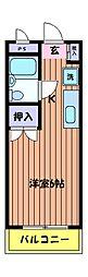 東京都日野市新町3丁目の賃貸マンションの間取り