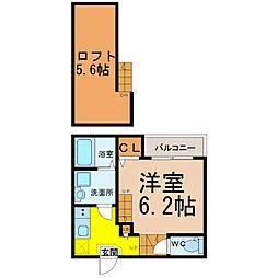 愛知県名古屋市中村区大宮町2の賃貸アパートの間取り