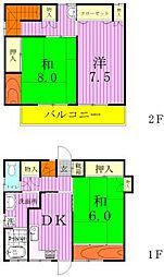 [一戸建] 千葉県松戸市本町 の賃貸【/】の間取り