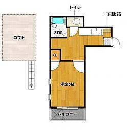 福岡県福岡市早良区百道3丁目の賃貸アパートの間取り