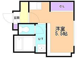 アンフィリット札幌 2階1Kの間取り